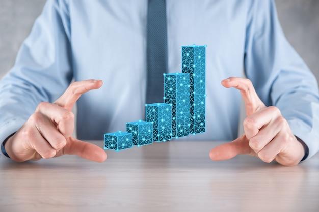 Biznesmen posiadający wykresy 3d niskie statystyki wielokątne i giełdowe zyskują zyski. koncepcja planowania wzrostu, strategii biznesowej. koncepcja rozwoju gospodarczego. strategia biznesowa. marketing cyfrowy.