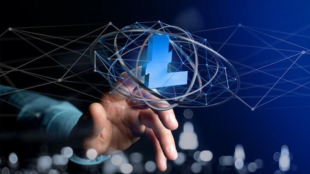 Biznesmen posiadający znak waluty krypto litecoin latające wokół połączenia sieciowego - renderowania 3d