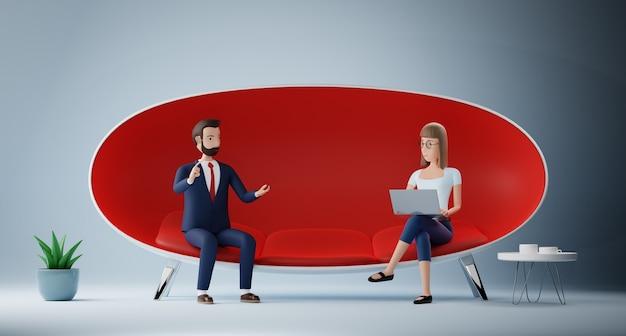 Biznesmen postać z kreskówki i kobieta za pomocą laptopa, siedząc w czerwonej kanapie. koncepcja wywiad spotkanie biznesowe. renderowanie 3d