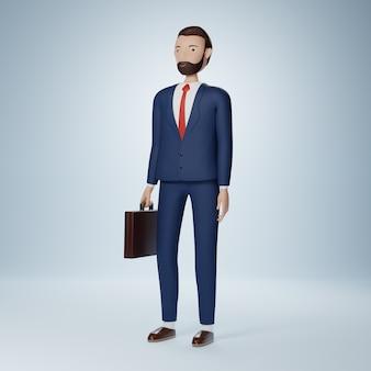 Biznesmen postać z kreskówki stojąca i trzymająca teczkę na białym tle
