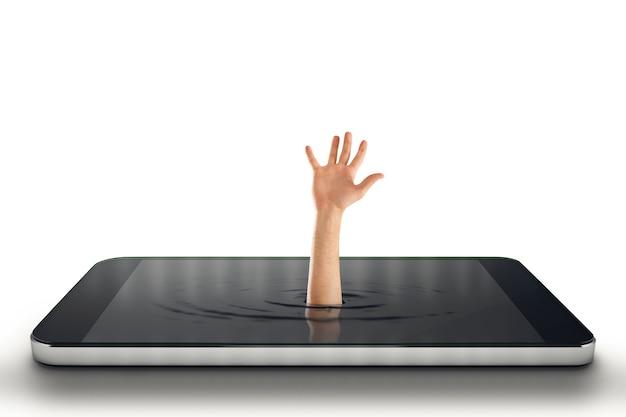 Biznesmen prosi o pomoc przy wyjściu z dużego telefonu komórkowego. renderowanie 3d