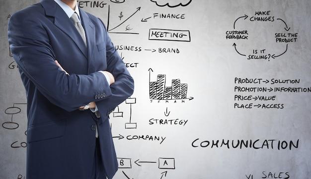 Biznesmen przed biznesem odnosić sie diagramy i mapy