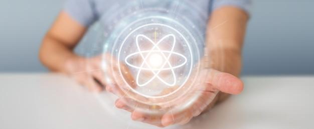 Biznesmen przy użyciu nowoczesnej struktury cząsteczki, renderowania 3d