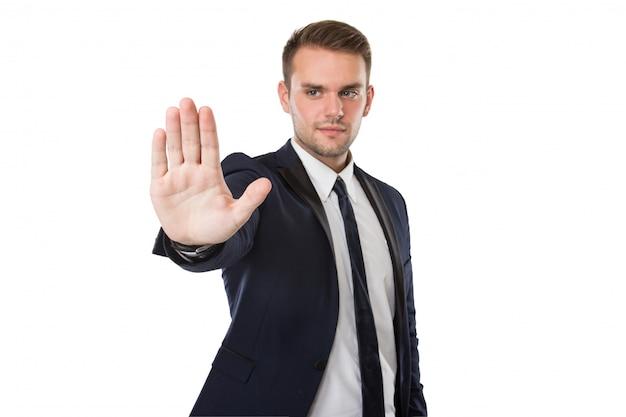 Biznesmen push do wirtualnego ekranu