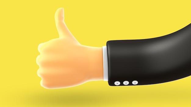 Biznesmen ręka kciuk w górę, jak gest na żółtym tle