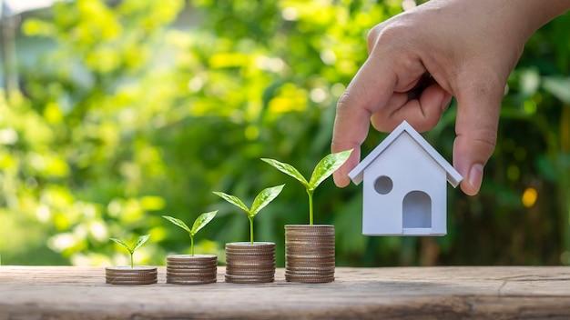 Biznesmen ręka trzyma model domu i drzewa rosnące na stosie monet koncepcji kredytowej