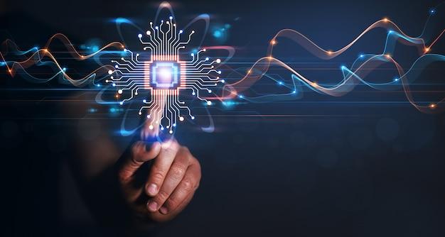 Biznesmen ręka wskazująca dane mózgu technologia sztucznej inteligencji uczenie maszynowe