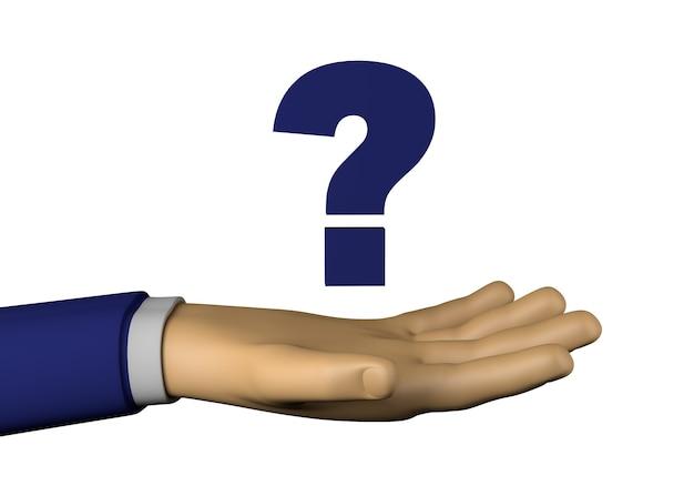 Biznesmen ręka ze znakiem zapytania. ilustracja 3d.