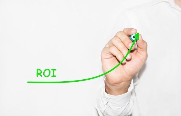 Biznesmen rysuje rosnący wykres symbolizujący rosnący zwrot z inwestycji roi