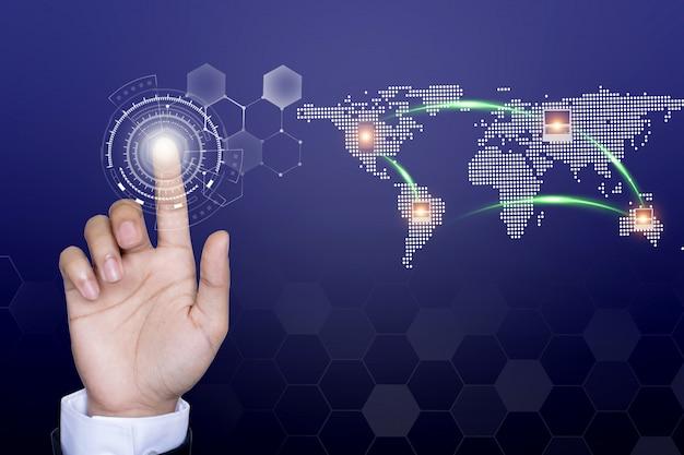 Biznesmen sieci technologii i komunikacji