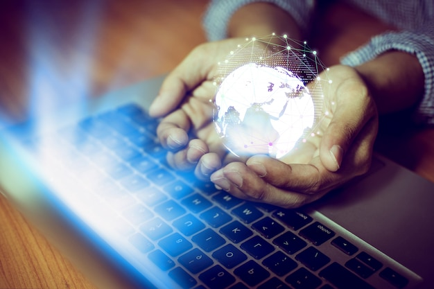 Biznesmen sieci technologii komunikacja