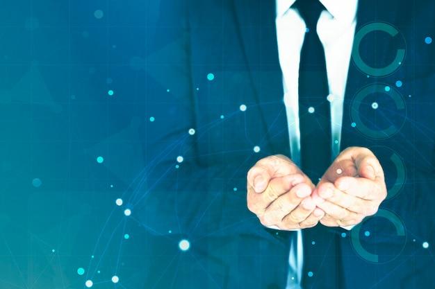Biznesmen składając ręce razem w tle
