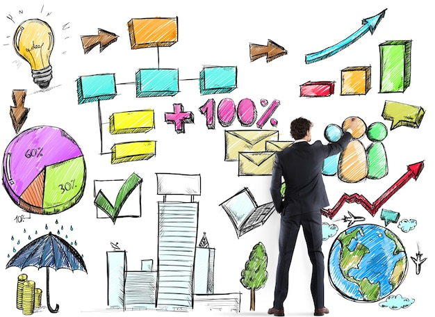 Biznesmen sporządza plan i projekt analizy biznesowej