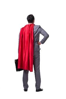 Biznesmen superbohatera na białym tle