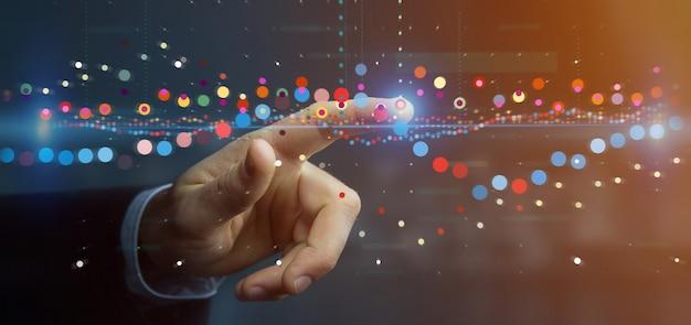 Biznesmen trzyma biznesową giełdę handlową dane dane informacja