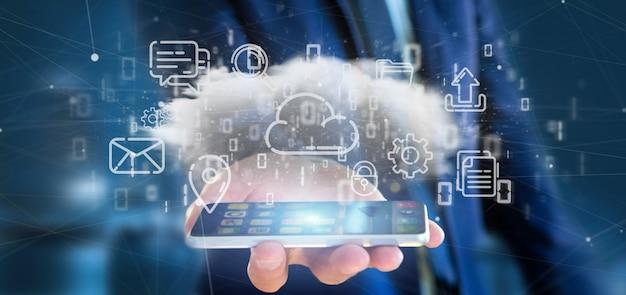 Biznesmen trzyma chmurę multimedialna ikona