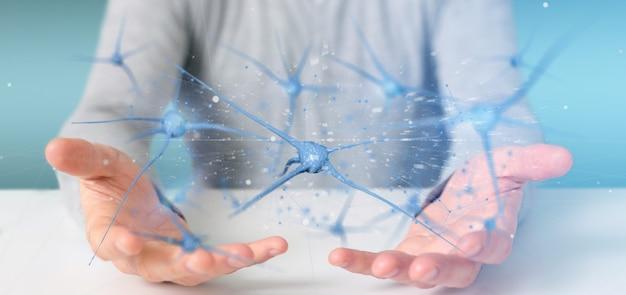 Biznesmen trzyma grupę renderowania 3d neuronów