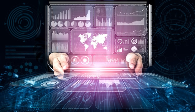 Biznesmen trzyma hologram analizy danych dla biznesu i finansów