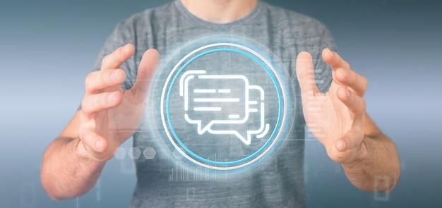 Biznesmen trzyma ikonę wiadomości