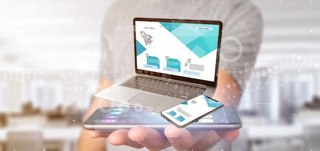 Biznesmen trzyma laptop i smartphone - 3d rendering