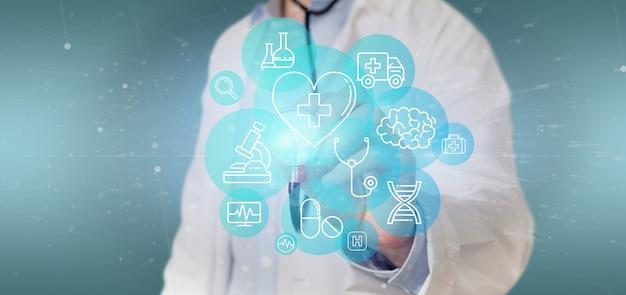 Biznesmen trzyma medyczną ikonę i związek