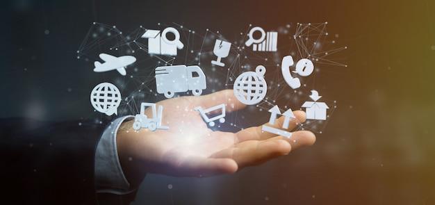 Biznesmen trzyma organizację logistyczną z ikoną i połączeniem