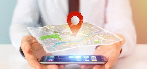 Biznesmen trzyma posiadacza pin renderingu 3d na mapie