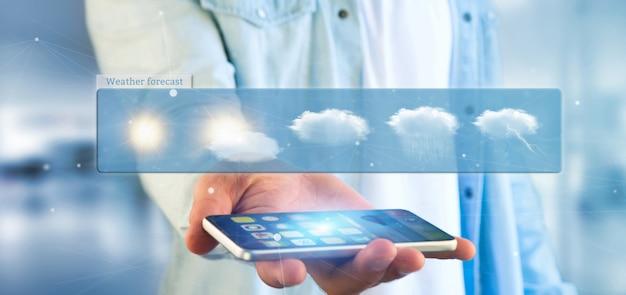 Biznesmen trzyma prognoza pogody widget 3d rendering