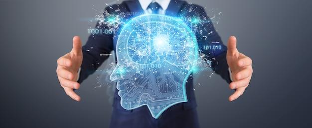 Biznesmen tworzący sztuczną inteligencję