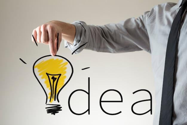Biznesmen umieszczenie rysunku świecącej żarówki w miejsce litery i w słowie idea.
