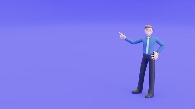Biznesmen uśmiecha się, wstać i wskazać ręką w powietrzu obok niego. ludzie biznesu w koncepcji wyjaśnienia lub prezentacji w renderowaniu 3d.
