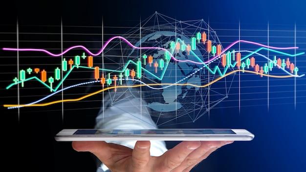 Biznesmen usng smartphone z renderowania 3d wyświetlanie informacji o handlu giełdowym na futurystycznym interfejsie