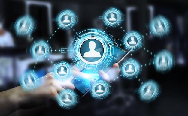 Biznesmen używa błękitną sieć społeczną