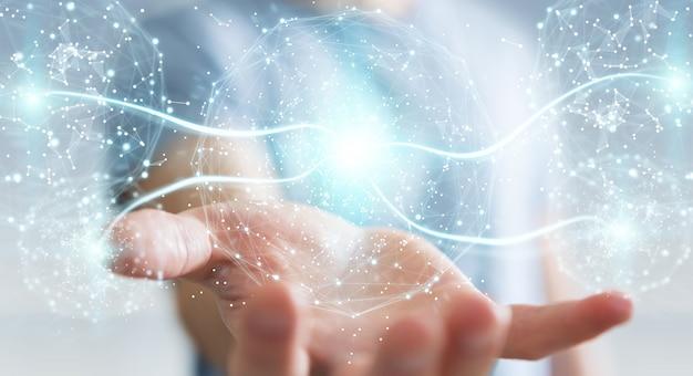 Biznesmen używa cyfrową sieć związku sferę