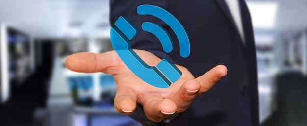 Biznesmen używa cyfrowego telefon