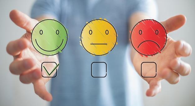 Biznesmen używa oceny zadowolenia klienta cienka linia
