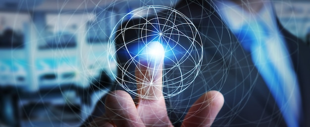 Biznesmen używa sieć danych