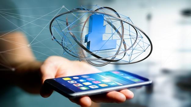 Biznesmen używa smartphone z bitcoin cryptocurrency znakiem lata wokoło połączenia sieciowego