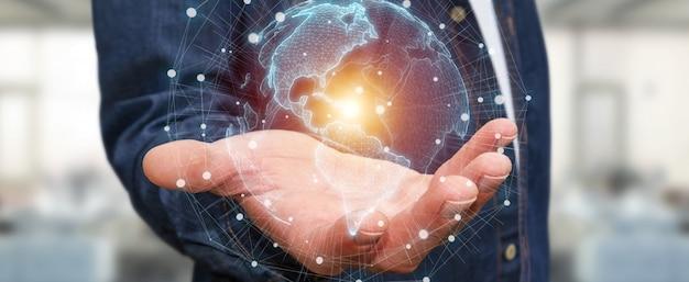 Biznesmen używa usa mapy świata interfejs