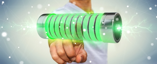 Biznesmen używa zielonej baterii z błyskawicami 3d rendering