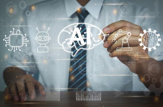 Biznesmen używający długopisu z ikoną mózg sztuczna inteligencja ai
