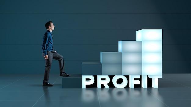 Biznesmen w górę schodów do wzrostu i wysokiego zysku