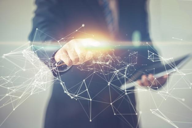 Biznesmen wskazujący palcem wskazującym na sieć wizualną lub splot połączenia