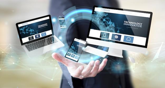 Biznesmen z innowacyjną technologią internetową