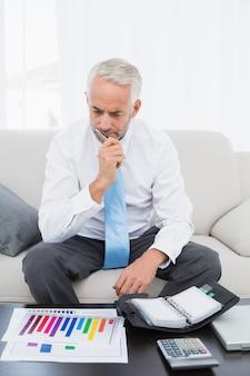 Biznesmen z wykresami i dzienniczkiem w domu
