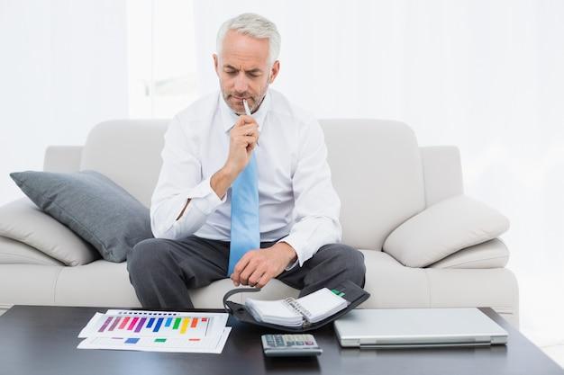 Biznesmen z wykresów i dziennik siedzi w salonie