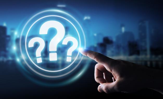 Biznesmen za pomocą cyfrowego interfejsu znaków zapytania