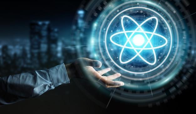 Biznesmen za pomocą nowoczesnej struktury cząsteczki
