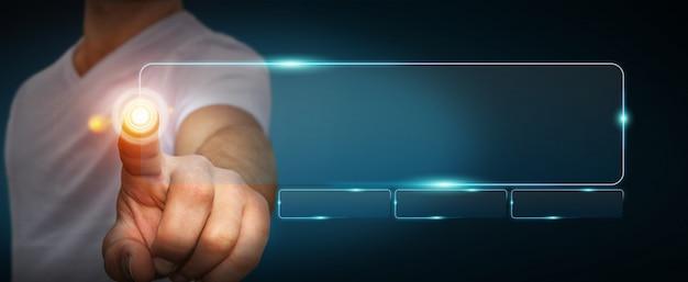 Biznesmen za pomocą paska adresu dotykowego interfejsu internetowego do surfowania w internecie