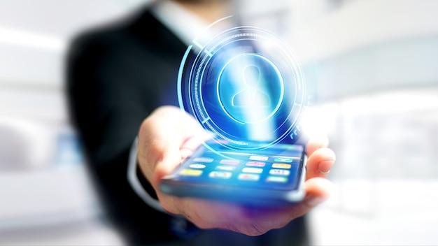 Biznesmen za pomocą smartfona z przyciskiem kontakt sieci shinny technologiczne - 3d render